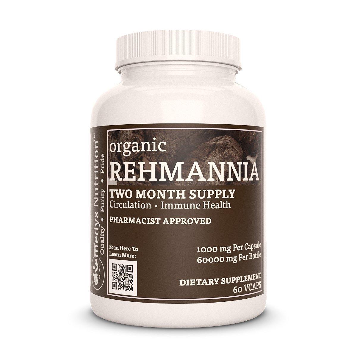 Rehmannia Root Remedy's Nutrition Mega Strength Organic Vegan 1000 mg / 60,000 mg per bottle/Natural Herbal Shu Di Huang (Rehmannia Glutinosa) Vcaps by Remedys Nutrition