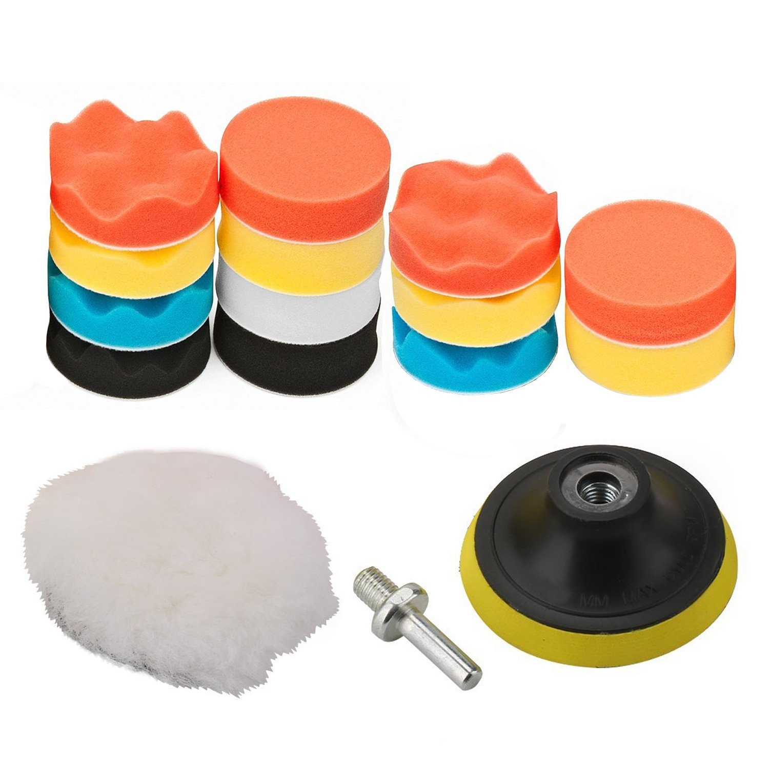 OxoxO 5'/125mm Polishing Buffing Pad Auto Car Drill Polisher Buffer Sponge Pads Set M14 Drill Adapter With Shank (Set of 16)