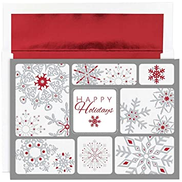 jam paper christmas card set snowflake collage christmas cards 16pack - Collage Christmas Cards