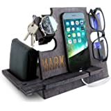 Personalized Gifts for Men, Cell Phone Stand, Wooden Desk Organizer, Phone Dock - Nightstand Charging Station, Phone Holder,