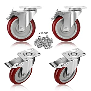 GloEra 5 inch Swivel Caster Wheels Heavy Duty 1500 LBS Capacity with Safety Dual Caster, 4 Pack All with Brake No Noise Lockable Wheels (Include 16 pcs Screws Set)