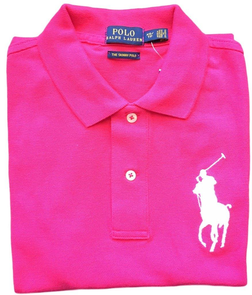 Polo Ralph Lauren Womens Big Pony Polo (Small, Pink White pony)