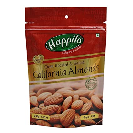 Happilo Premium Californian Almonds, Roasted and Salted, 200g (Pack of 5)