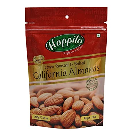 Happilo�Premium Californian Roasted and Salted Almonds, 200g
