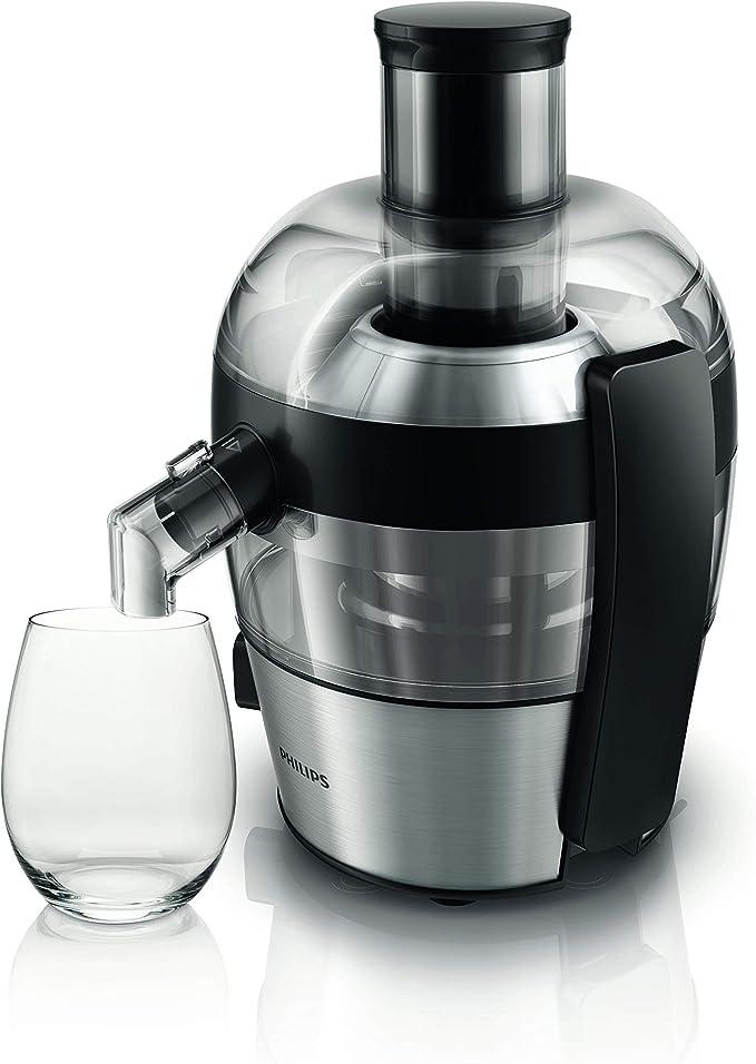 Philips HR1836/00 Centrifugeuse noire 500W, Quickclean nettoyage 1mn, cheminée XL, tamis inversé electro poli, jusqu' à 1,5L de jus en 1 extraction