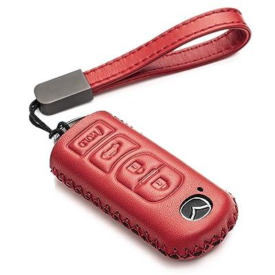 Vitodeco Genuine Leather Smart Key Fob Case Cover Protector for Mazda 3, 6, CX-5, CX-7, CX-9, MX-5 Miata, Atenza Axela (4 Buttons, Red): Automotive