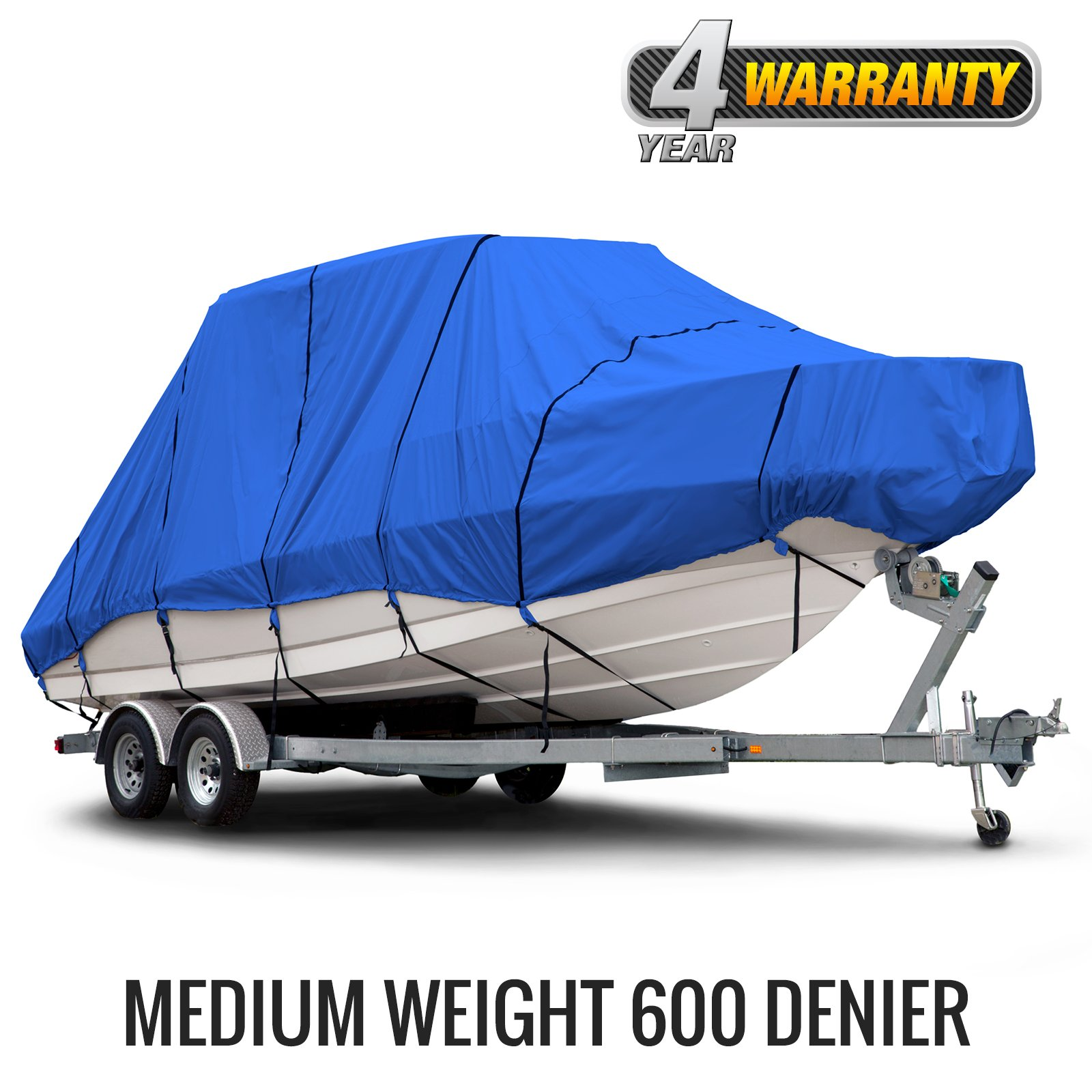 Budge B-620-X6 Blue 20'-22' Long (Beam Width up to 106'') 600 Denier Waterproof Breathable Hard/T-Top Boat Cover