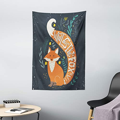 Ambesonne Vintage Tapestry, What Does The Fox Say Hipster Animals Know Better Habitat Creature Illustration, Wall Hanging for Bedroom Living Room Dorm Decor, 40 X 60 , Multicolor