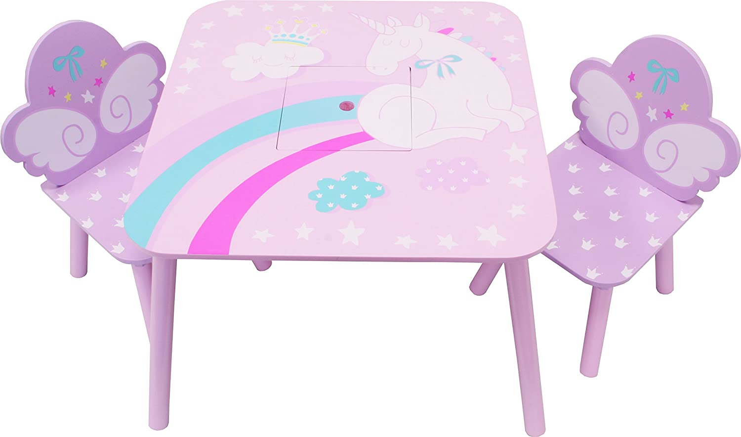 Childrens Wooden Set UNICORN Set: 2 Chairs 3 Set-Combinations Chairs Table and Chestbench 1 Table IB-Style
