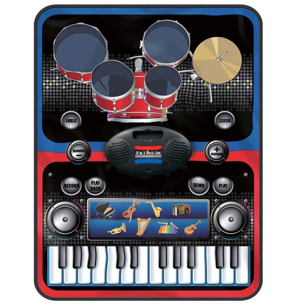 BAKAJI Tappeto Musicale 2in1 Doppio Strumento Batteria e Tastiera con Amplificatore per Mp3 8 Melodie Strumenti Musicali e Bacchette Playmat Bambini Dimensione 60 x 90 cm
