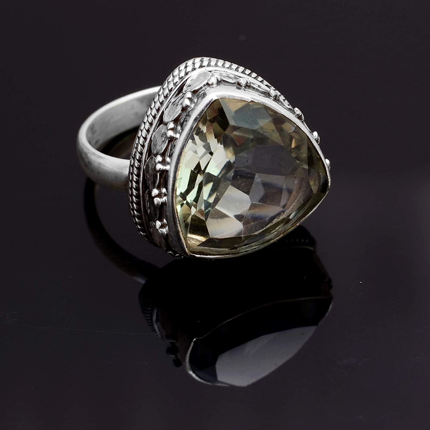Silver Palace 925 Sterling Silver Natural Green Amethyst Ring for Womens and Girls