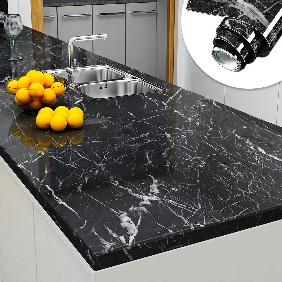 Yenhome Jazz Black Faux Marble Countertops Peel And Stick 24 X 196 Inch Removable Wallpaper For Kitchen Backsplash Peel And Stick Wallpaper Cabinets Shelf And Drawer Liner Self Adhesive Vinyl Film Amazon Com