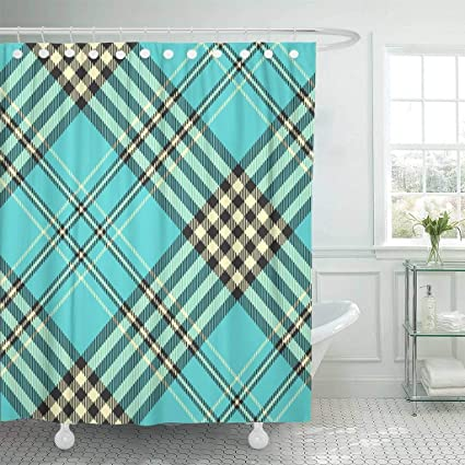 Amazon Emvency Fabric Shower Curtain With Hooks Cute Tartan