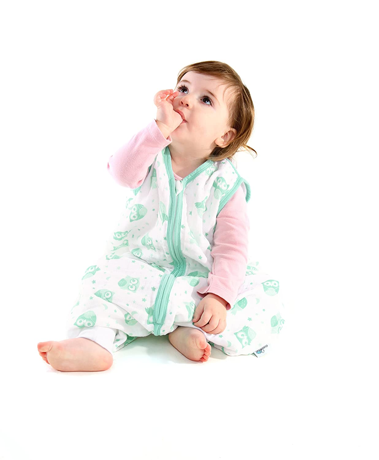 Slumbersafe Muslin Summer Sleeping Bag With Feet 0.5 Tog Mint Owls 24-36 months