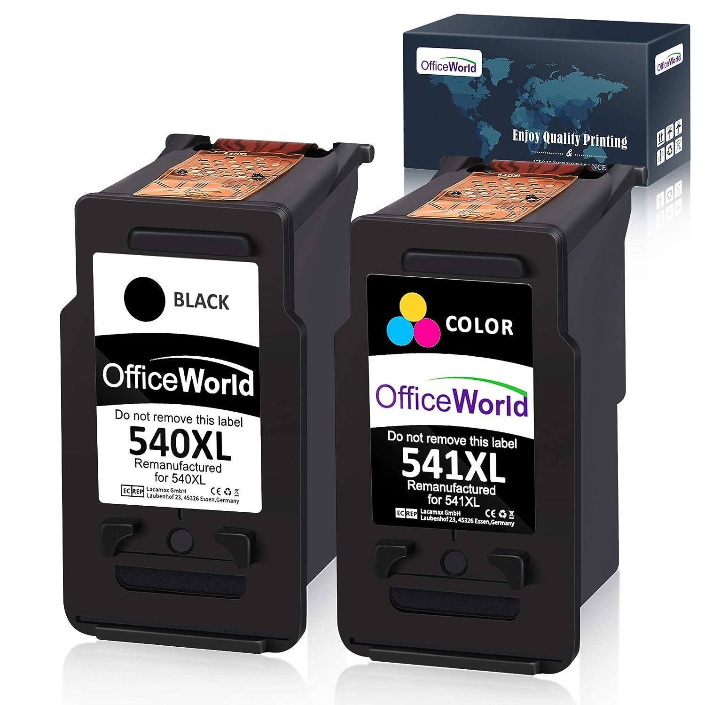 OfficeWorld Cartuchos de tinta remanufacturados PG-540 CL-541, PG-540XL CL-541XL para Canon Pixma TS5150 MX475 MG3150 MG3650 MG4250 MG3550 MX395 MX525 ...