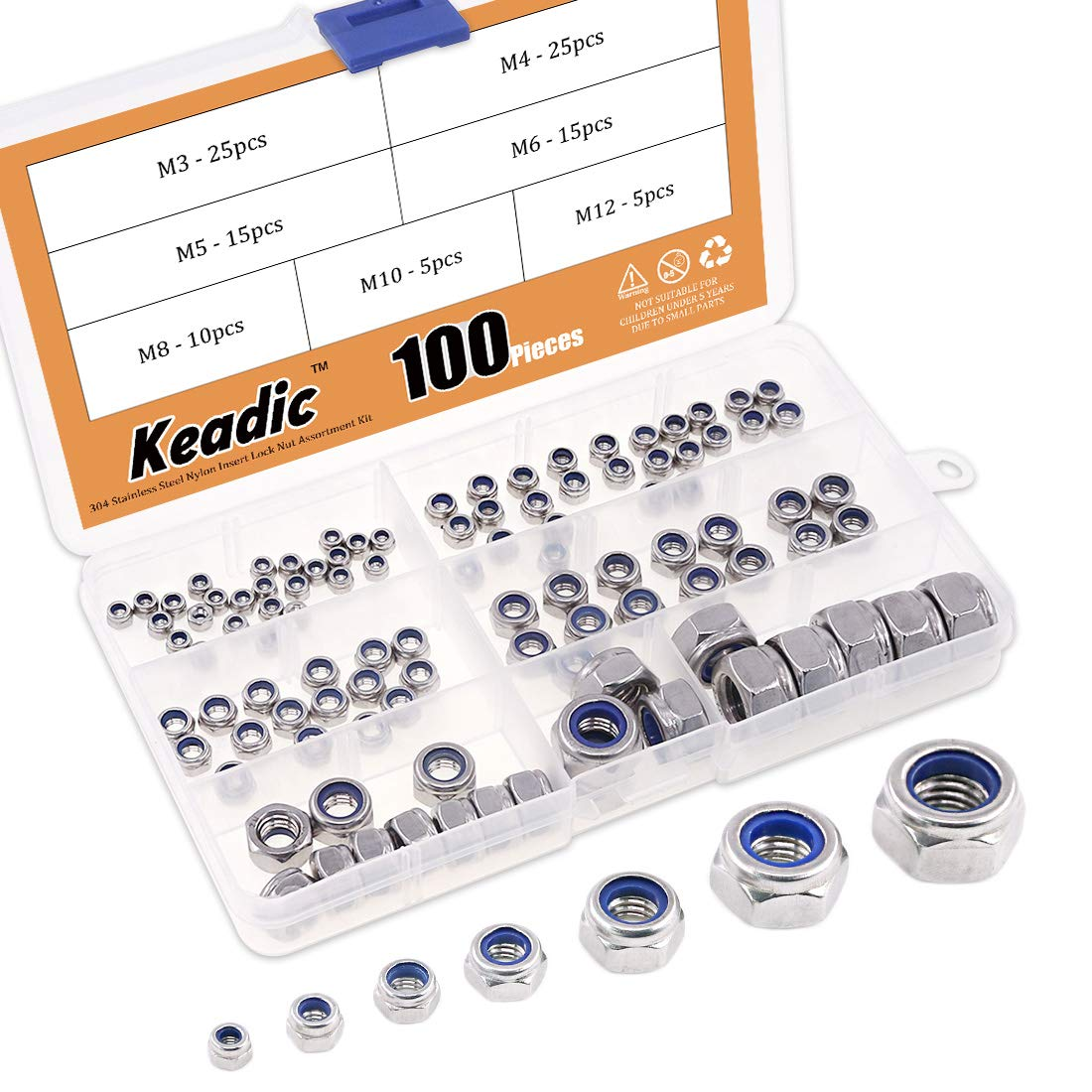 Keadic 100Pcs 304 Stainless Steel Metric Nylon Insert Lock Nut Assortment Kit - 7 Sizes: M3 M4 M5 M6 M8 M10 M12