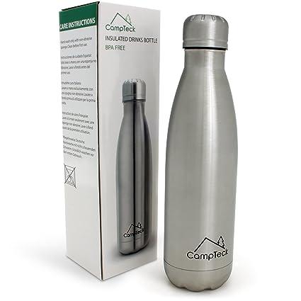 CampTeck 500ml Botella Agua Térmica De Acero Inoxidable Aislamiento Doble Pared Bebidas Deporte