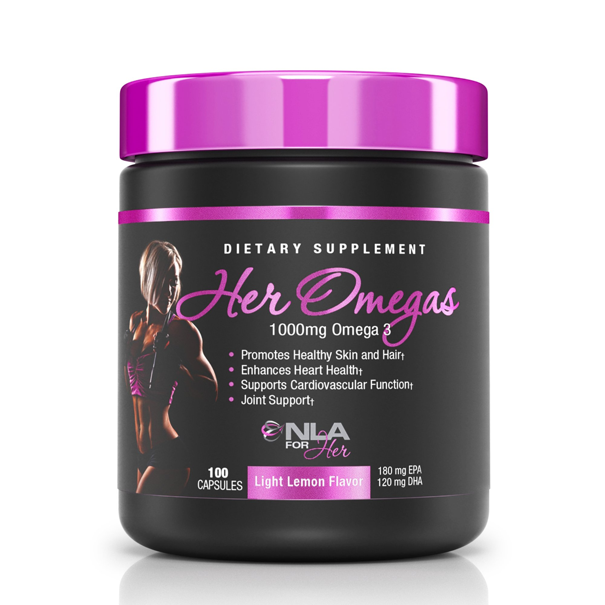 NLA for Her - Her Omegas - 1000 mg Omega 3 - Essential Fatty Acids to Support Brain, Heart, Vision and Joint Health & Supports Cardiovascular Function/Joint Flexibility - Light Lemon - 100 Capsules