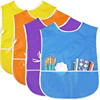 4 Pieces Art Smock for Kids Artist Smock Waterproof Painting Apron Painting Smocks for Children, 4 Colors (Orange, Yellow, Purple, Blue)