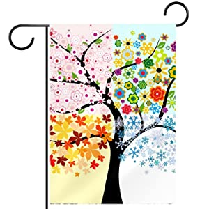Garden Flag Four Season Tree 12×18 Inch Double Sided Design Decorative Yard Banner Garden Flag Holiday Flag for Party Home Outdoor Decoration