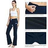 Baleaf Women's Yoga Bootleg Pants Inner Pocket Dark Blue Size M