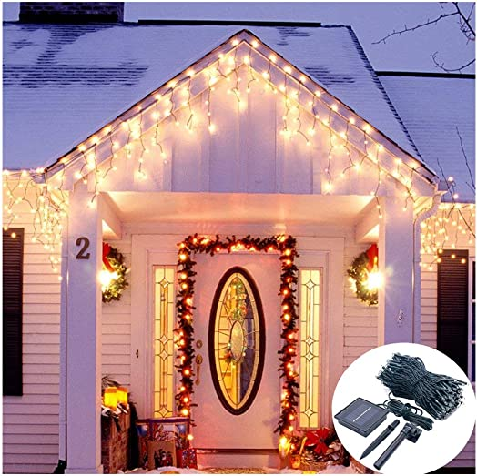 Solar Operated Icicle Curtain Lights,19.7ft Long 300 LED Twinkle Snowing Lights for Christmas Tree Holiday Eaves Escalator Balcony Corridor Decoration-8 Mode,Dark Green Cable,Waterproof-Warm White