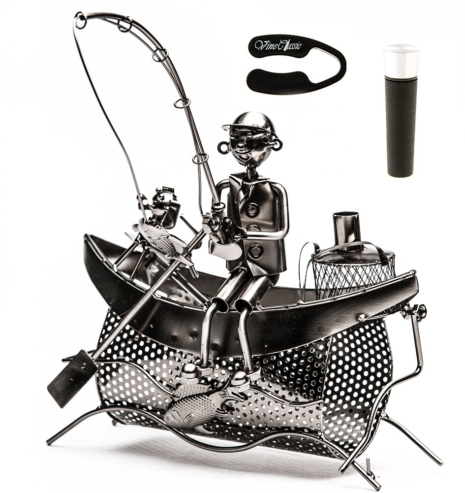 Fisherman Sitting on Boat with a Dog Holding a Fishing Rod Trying to Catch Some Fish , Tabletop Wine Bottle Holder Presenter Plus a Wine Foil Cutter and a Wine Vacuum Stopper