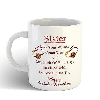iKraft Raksha Bandhan Gift for Sister, Quotes Printed Coffee Mug Tea Cup –  11oz White – Best Rakhi Gift for Sister, Rakshabandhan Gifts idea for