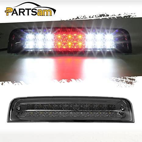 Partsam Smoked Third 3rd Brake Light Replacement For Dodge Ram 2009 2017 1500 2500 3500 Red White Dual Row Led High Mount 3rd Tail Rear Brake Light