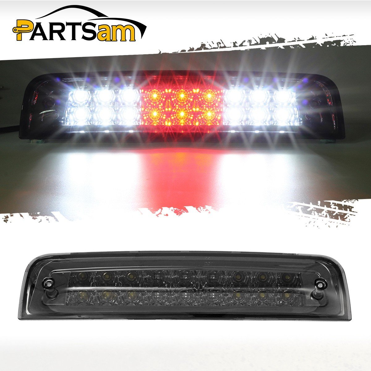 Partsam Smoked Third Brake Light Replacement for 2009-2017 Dodge Ram 1500, 2010-2017 2500 3500 Red/White Dual-Row LED High Mount 3rd Tail Rear Brake Light Cargo Lamp