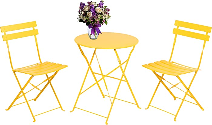 INOVIX 3 Pieces Outdoor Metal Bistro Set Foldable Table and Chairs Wrought Iron Patio Furniture, Yellow