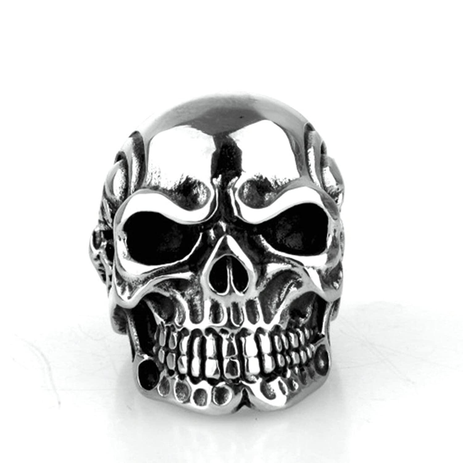 Skull Stainless Steel Pirate Ring - DeluxeAdultCostumes.com
