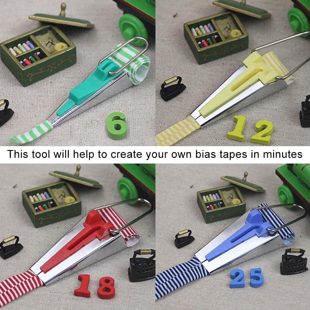 Multifunction Sewing Fold Bias Tape Makers Kits 6//12//18//25mm 4 Size Fabric Bias Tape Maker Folder Kit DIY Sewing Quilting Binding Tool Hongzer Tape Maker