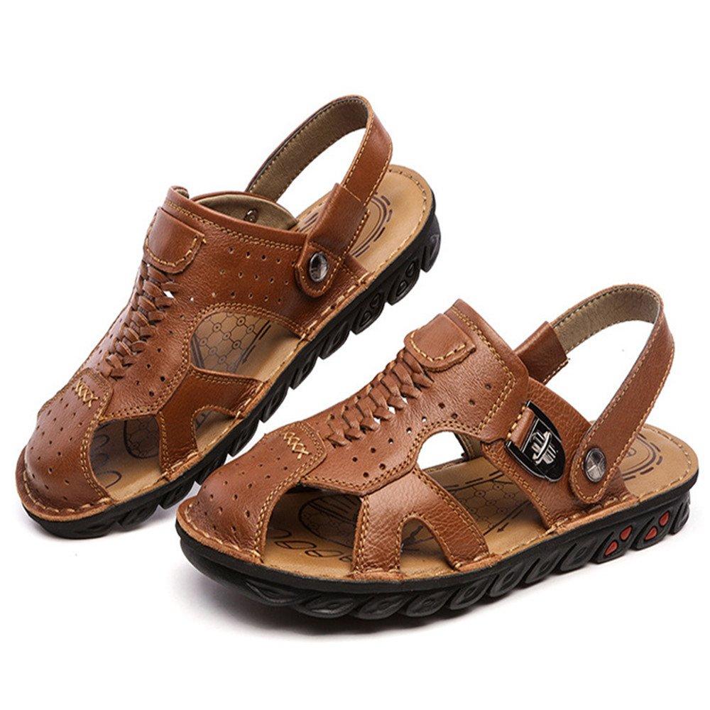 銉忋兂銉°儭銈?Sandale Sandaletten der Mauml;nner Echtes Leder-beilauml;ufige Sandaletten-Abdeckung der Kopf der Bequemen Strand-Schuhe. (Farbe : Braun, Grouml;szlig;e : 40 EU)  40 EU|Braun
