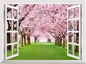 """Removable Wall Sticker/Wall Mural - Cherry Blossom View Out of The Open Window Creative Wall Decor - 24""""x32"""""""