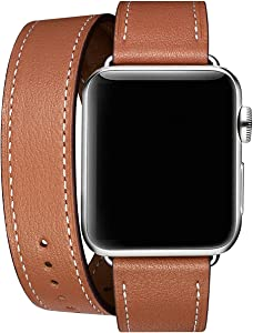 WFEAGL Compatible iWatch Band, Top Grain Leather Band Replacement Strap iWatch Series 4,Series 3,Series 2,Series 1,Sport, Edition (Brown Double Tour Band +Silver Buckle, 38mm 40mm)
