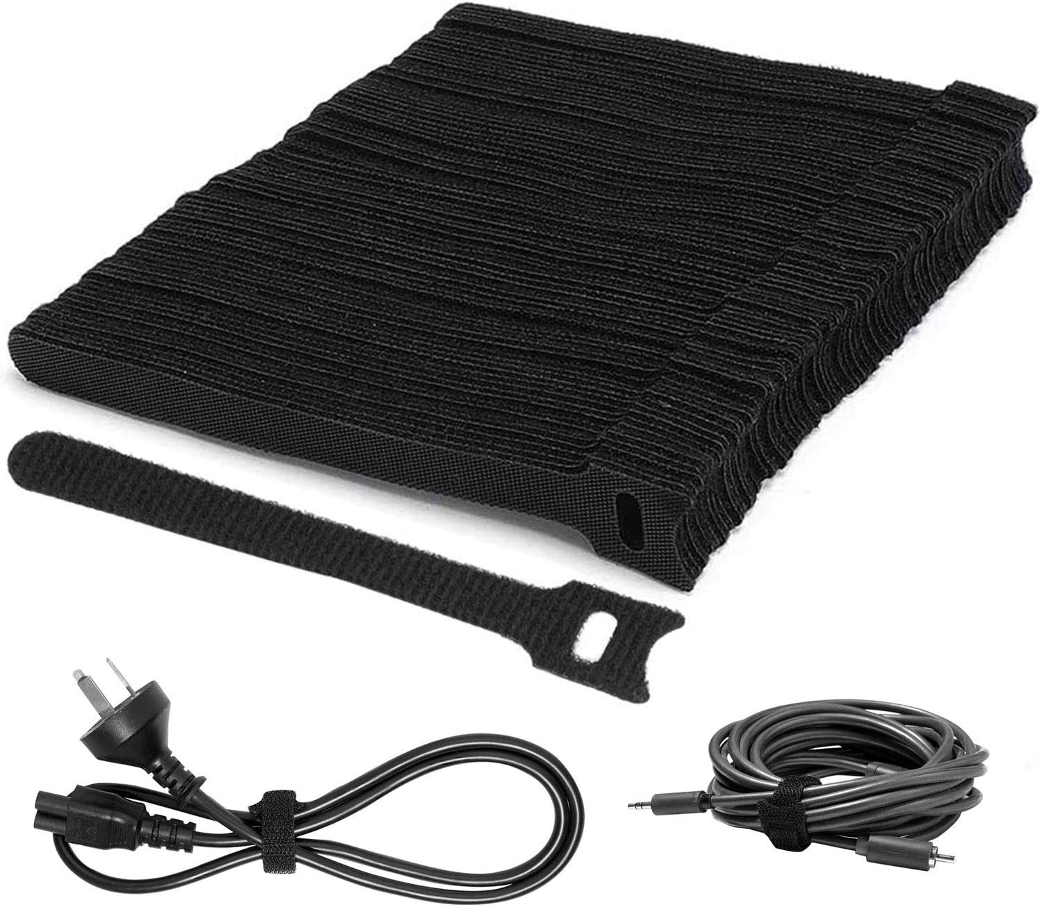 100pcs Cable Straps Black Hook and Loop Cable Ties Adjustable Reusable Tidy Wrap for PC Computer Electronics Fastening Tape Hossom Reusable Cable Ties