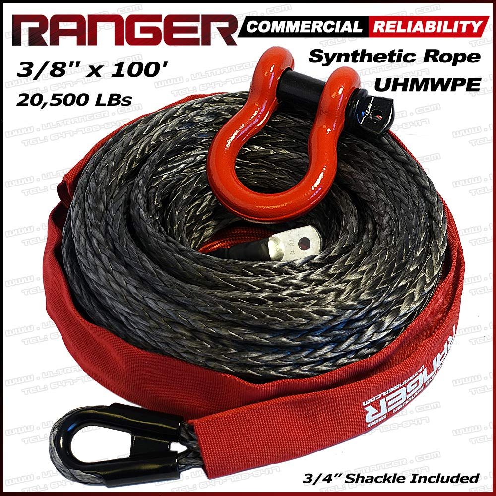 Ranger 3//8 x 100 Durable UHMWPE Synthetic Winch Rope Cable 20,500LBs with Protective Sleeve RANGER ULTRANGER 4332986332