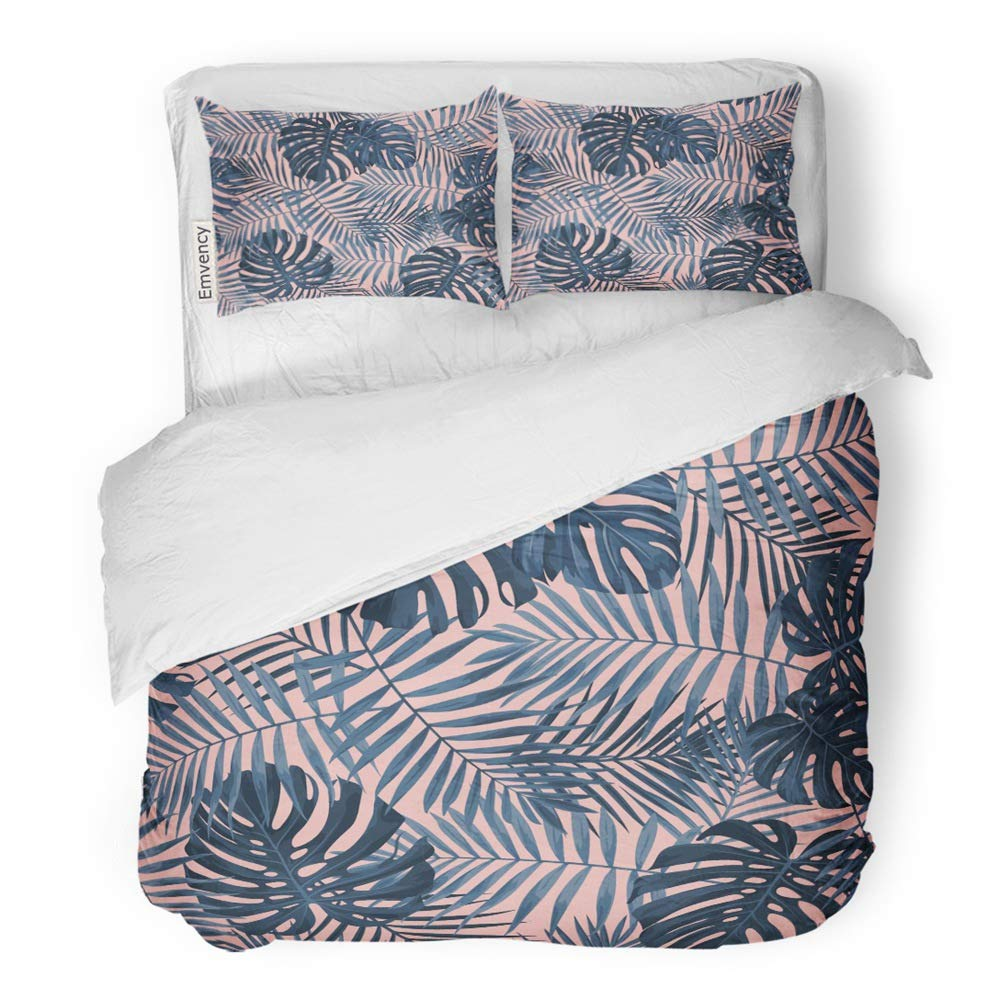 Emvency 3 Piece Duvet Cover Set Brushed Microfiber Fabric Breathable Tropical Leaf Featuring Navy Blue Palm and Monstera Plant Leaves on Pink Bedding Set with 2 Pillow Covers Full/Queen Size