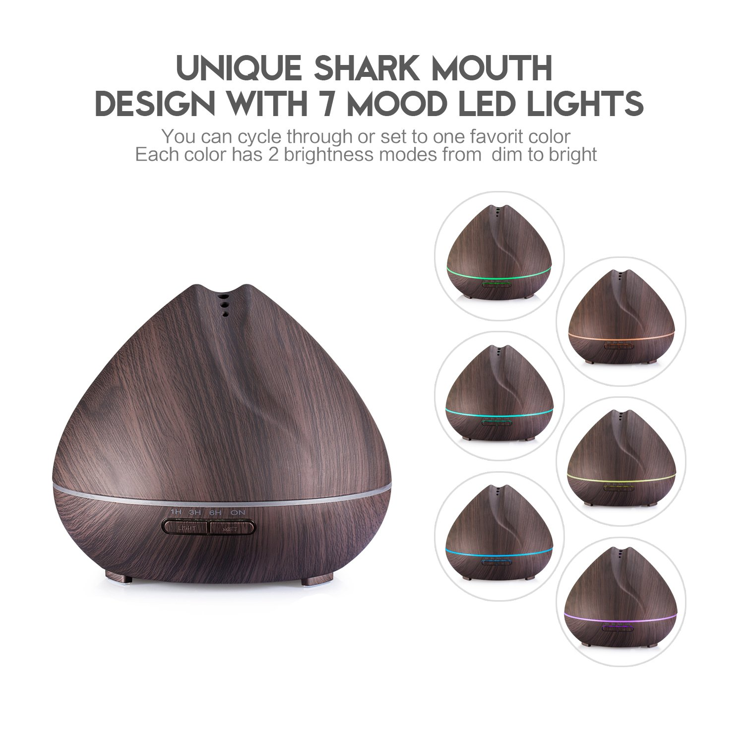 Leofan Aromatherapy Essential Oil Diffuser 400ml Wood Grain Ultrasonic Cool Mist Humidifier with 7 Color LED Lights Changing and Waterless Auto Shut-off (Dark Wood Grain) by Leofan (Image #2)