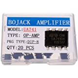 BOJACK UA741General Purpose High Gain Operational Amplifier UA741CN Single Op Amp DIP-8 (Pack of 20 pcs)