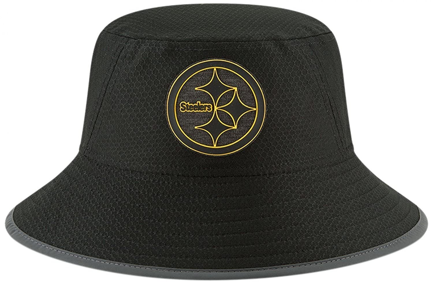 Amazon.com  Pittsburgh Steelers New Era 2018 Training Camp Primary Bucket  Hat Black  Clothing 52c154139dfc