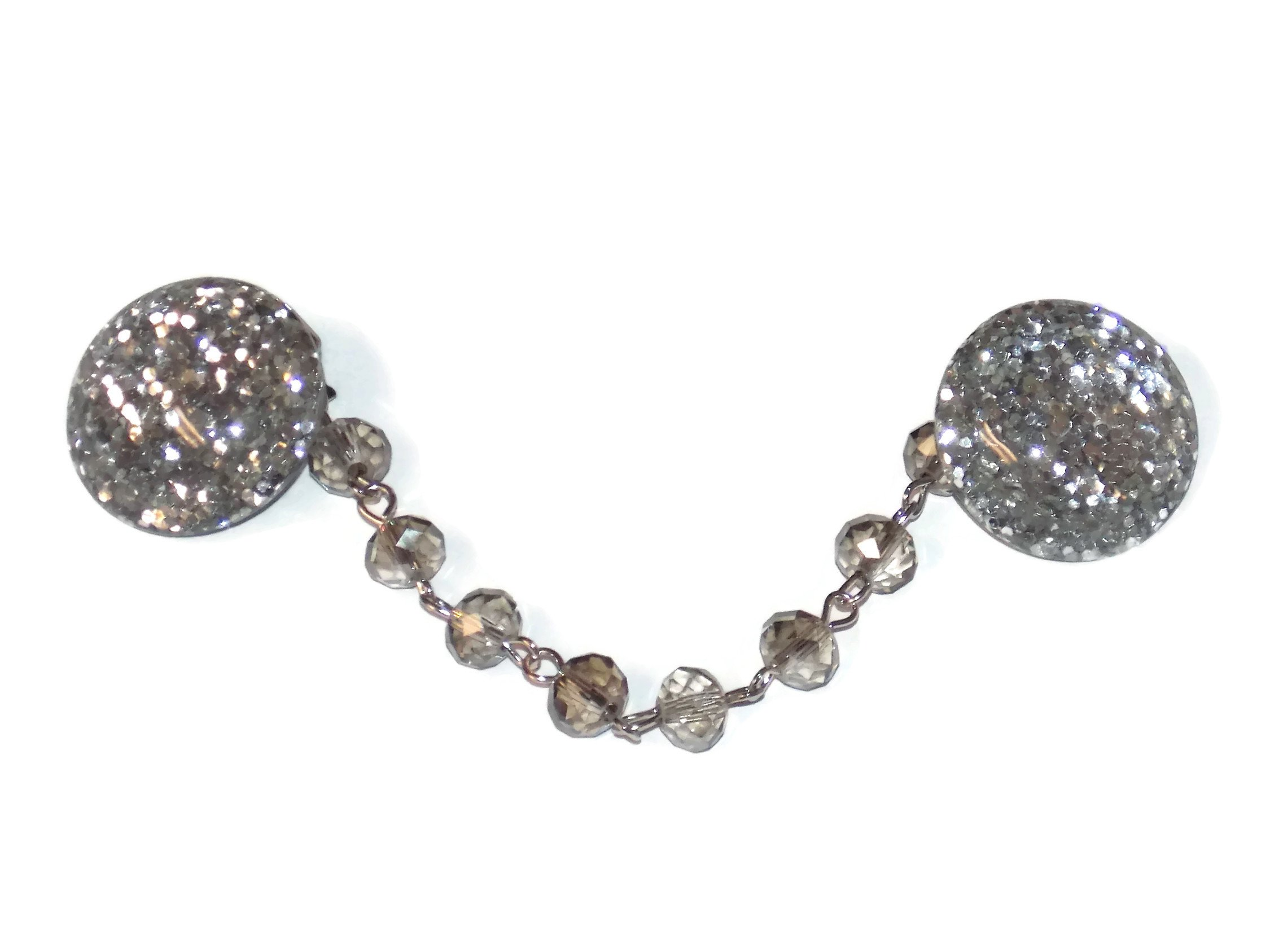 Old School Geekery Large Silver Glitter Sweater Clips with a 4 Inch Beaded Tone Chain Rockabilly Collar Clips