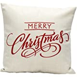 Laimeng Christmas Letter Sofa Bed Home Decoration Festival Pillow Case Cushion Cover (White)