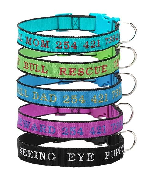 Mihqy Collar de Perro Personalizado – Collar para Perro con Nombre de Perro y número de