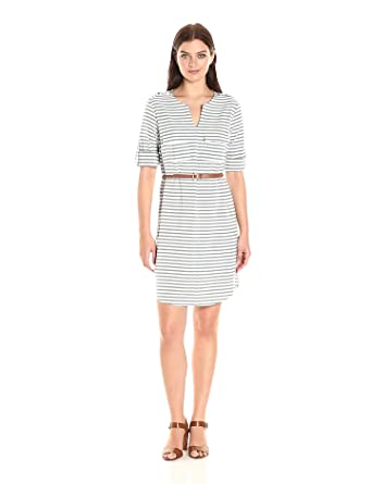 d016f77ed63 Sharagano Women s Belted V Neck Stripe Shirt Dress at Amazon Women s ...