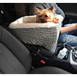 Center Console Pet Car Seats Meago Console Booster Dog seat Cashmere Cream Fur for Small Pets and Cats with Safety Belt