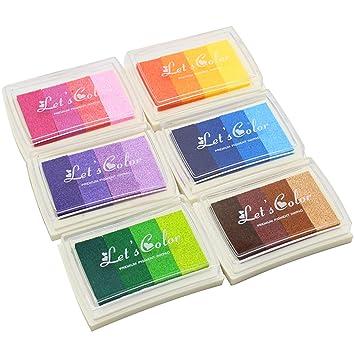 BEETEST 6Pcs Tinta para Huellas Arco iris gradiente de tinta de color InkPad impresión sellos artesanales