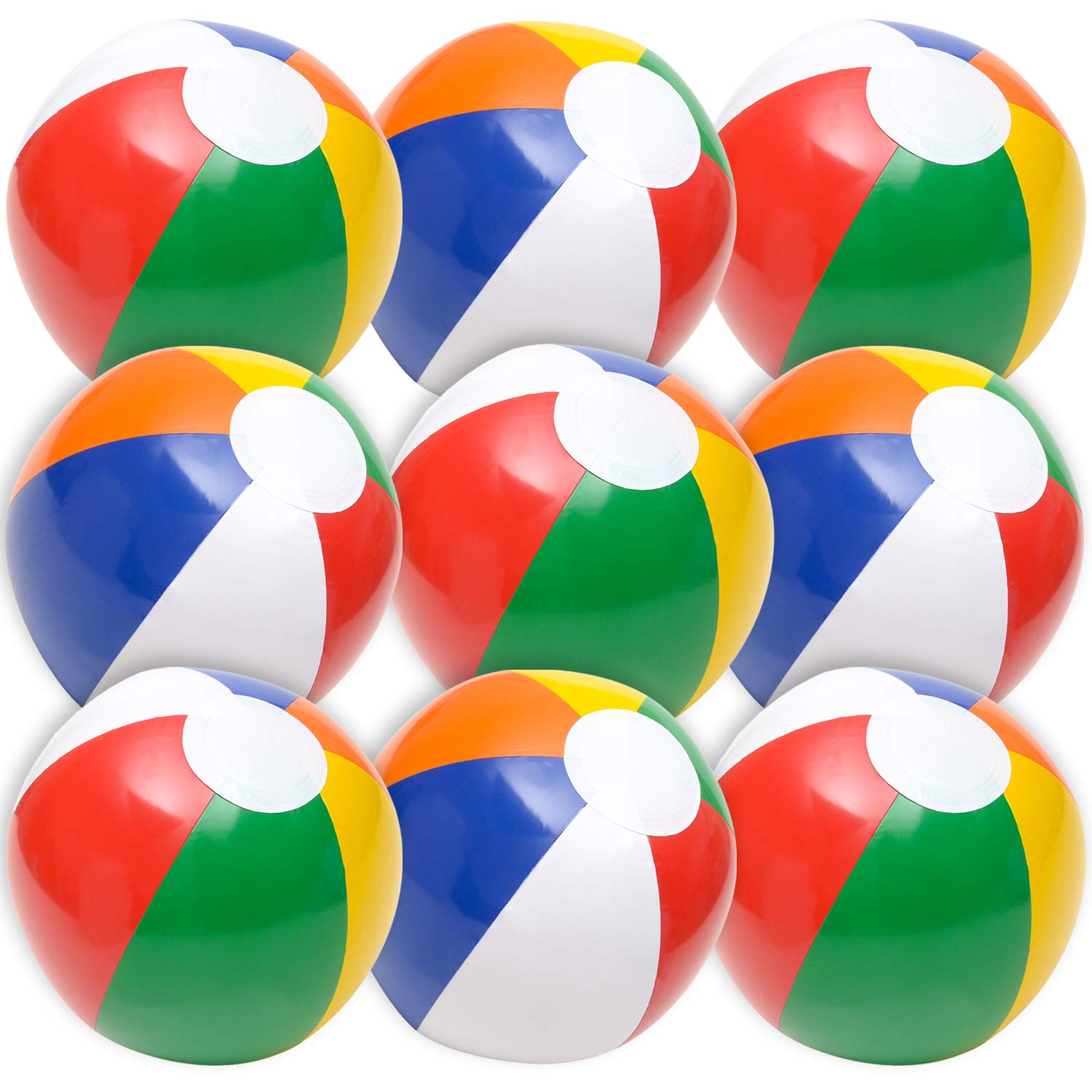 Beach Balls in Bulk - (Pack of 12) 16 Inch Inflatable Rainbow Beach Ball Toys for Kids, Dozen Beach Balls for Games, Pool Toys, Decorations, Party Favors by Bedwina
