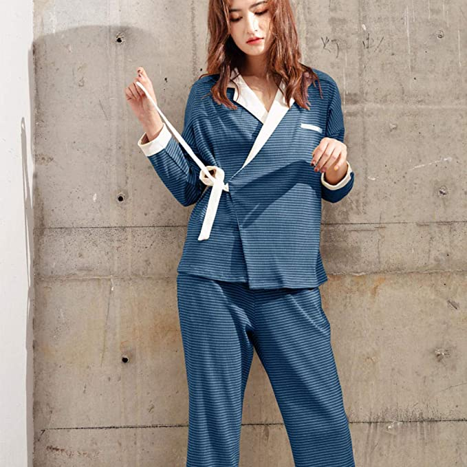 Pijama para Mujer Pantalones de Manga Larga Conjunto de Pijamas de algodón Servicio a Domicilio Kimono Corbata Casual cardiganblue_L: Amazon.es: Ropa y accesorios